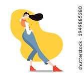 young girl dancing the modern ... | Shutterstock .eps vector #1949885380