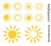 yellow funny doodle suns. set... | Shutterstock .eps vector #1949904046