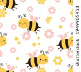 seamless pattern with bee...   Shutterstock .eps vector #1949905453