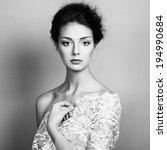 Photo of beautiful young woman. Vintage style. Fashion photo - stock photo
