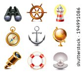 marine retro icons high... | Shutterstock .eps vector #194991086
