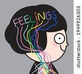 girl's feeling in colorful word ... | Shutterstock .eps vector #1949926303