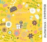 happy birthday card in bright... | Shutterstock .eps vector #194994908