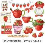 Watercolor Strawberry Decor....