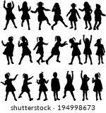 children silhouettes | Shutterstock .eps vector #194998673
