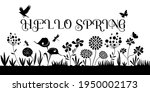 hello spring sign with flower... | Shutterstock .eps vector #1950002173
