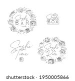 sushi labels in line style...   Shutterstock .eps vector #1950005866