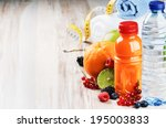 fresh fruit juice and fitness... | Shutterstock . vector #195003833