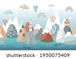 cute seamless landscape pattern ... | Shutterstock .eps vector #1950075409