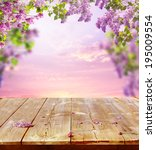 spring background with wooden...