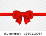red satin bow and horizontal... | Shutterstock .eps vector #1950110059