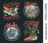 hawaii surfing vintage colorful ... | Shutterstock .eps vector #1950112096