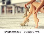legs and gold shoes  | Shutterstock . vector #195019796