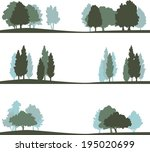 set of different silhouettes of ... | Shutterstock .eps vector #195020699