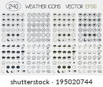 set of flat weather icons for... | Shutterstock .eps vector #195020744