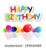 happy birthday card vector... | Shutterstock .eps vector #195024089