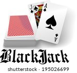black jack hand in spades as... | Shutterstock .eps vector #195026699