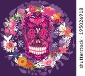 day of the dead colorful skull... | Shutterstock .eps vector #195026918
