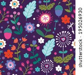 beautiful floral seamless... | Shutterstock .eps vector #195026930