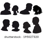 silhouette loving couple  kiss... | Shutterstock .eps vector #195027320