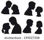 set of silhouettes  ouple in...