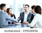 business people shaking hands ... | Shutterstock . vector #195028946