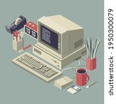 old outdated desktop pc with...   Shutterstock .eps vector #1950300079