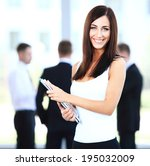 business woman with her staff ... | Shutterstock . vector #195032009