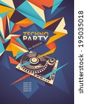 techno party poster with... | Shutterstock .eps vector #195035018