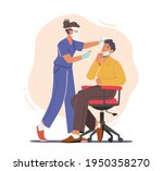 nurse take covid test from male ... | Shutterstock .eps vector #1950358270