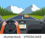view of the road from the car... | Shutterstock .eps vector #1950361603