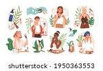 set of women applying cleansing ... | Shutterstock .eps vector #1950363553