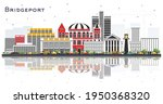 Bridgeport Connecticut City Skyline with Color Buildings and Reflections Isolated on White. Vector Illustration. Tourism Concept with Historic Architecture. Bridgeport USA Cityscape with Landmarks.