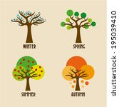 seasons design over beige... | Shutterstock .eps vector #195039410