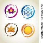 seasons design over beige... | Shutterstock .eps vector #195039470