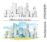 modern urban sketch building... | Shutterstock .eps vector #195039899