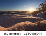 Sun Shines Through Snow Covered ...