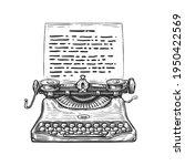 sketch retro typewriter. hand...   Shutterstock .eps vector #1950422569