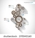 infographic timeline with gear... | Shutterstock .eps vector #195043160