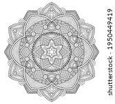 isolated black round hexagonal...   Shutterstock . vector #1950449419