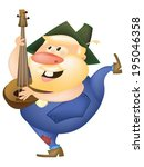 banjo,beard,bearded,country,cute,dancing,funny,hillbilly,hoedown,illustration,instruments,jamboree,male,man,music