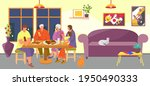 family eat meal at home  vector ...   Shutterstock .eps vector #1950490333