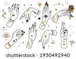boho lines woman hands. female... | Shutterstock .eps vector #1950492940