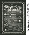 recipe chalkboard wedding... | Shutterstock .eps vector #195052250