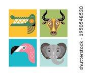 animal faces. vector... | Shutterstock .eps vector #1950548530