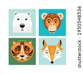 animal faces. vector... | Shutterstock .eps vector #1950548536