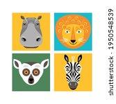 animals faces. vector... | Shutterstock .eps vector #1950548539