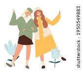 two happy girls holding hands.... | Shutterstock .eps vector #1950549883