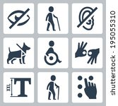 disabled related vector icons... | Shutterstock .eps vector #195055310
