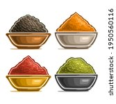 Set Of Indian Spices In Bowl ...